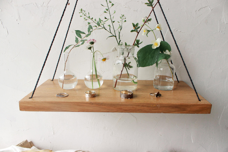 Hanging shelf wood swing shelves test tube holder for Test tube flower vase rack
