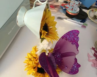 Hanging Tea Cup Mint Green with Sunflowers