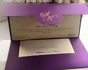 Monogram Pocket Fold Wedding Invitation DL Shape - Personalised - Foiled Initials - Many colours available