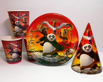 Panda kung fu paper plates, cups and party hats. Paper tableware for children's birthday. Set for children's party or birthday. Panda party.