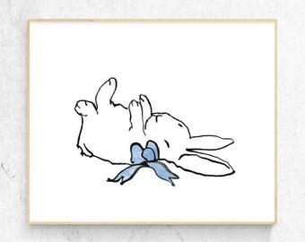 Original Sleeping Rabbit Minimalist Fine Art Print, Woodlands Nursery, Wall Decor, Baby Animal Print, Printable Bunny, Digital Download