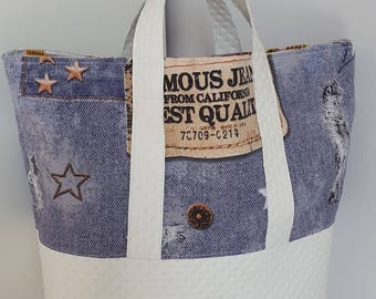 Hand printed Jeans canvas and faux White Leather padded bag