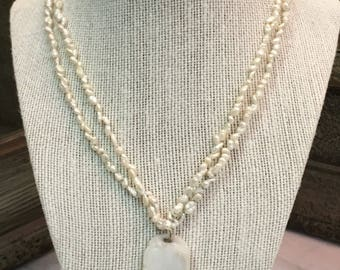 Double Strand Fresh Water Pearl White Jade Necklace Pendant