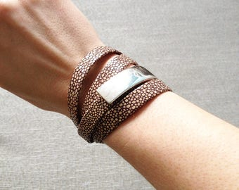 Wrap bracelet - leather wrap braclet with silver plated clasp - cuff bracelet - leather bracelet - nappa leather - devilfish design