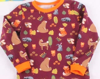 Scandi Foxes and bears SHORT sleeve t-shirt / retro print  / Scandi clothing / Colourful t-shirt with SHORT sleeves / Retro clothes for boys