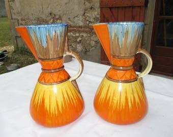 Pair Wadeheath Hand Painted Jugs/Pitchers Art Deco English 1930s.  Note: UK Visitors - for Postal Prices Read the Description. Elsewhere-USA