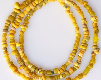 24 Inch Strand of Mixed Yellow Excavated Glass Beads - Vintage African Trade Beads - EX208-294