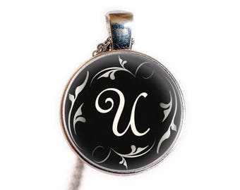 Initial U Necklace, Pendant, Jewelry, Gift | Letter U Necklace, Pendant, Jewelry, Gift | Letter Vintage Necklace, Pendant | Antique U