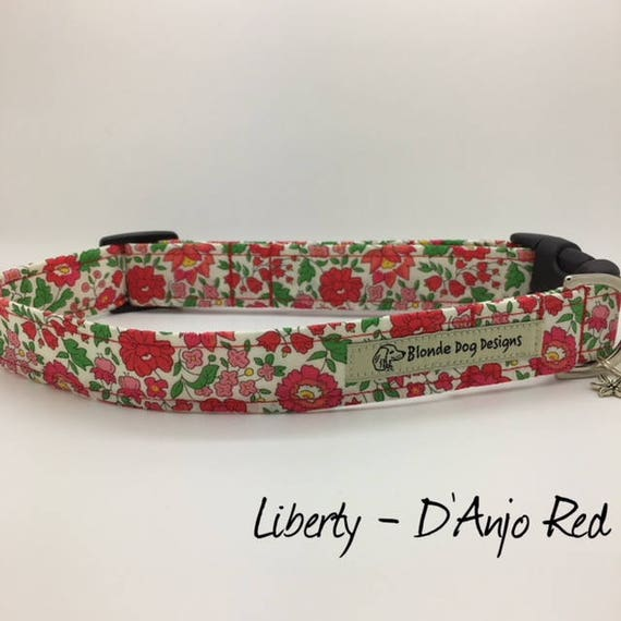 Liberty Dog Collar, D'Anjo Red, Pretty Dog Collar, Floral Dog Collar, Red Dog Collar, Luxury Dog Collar, Liberty Collar.