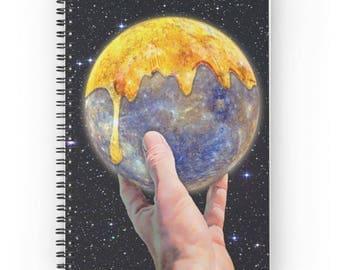 15x20 cm, Mercury Notebook, Mercury Spiral Notebook, Mercury Journal, Dream Journal, Planet Journal, Vintage Journal, Planet Notebook