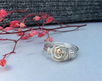 Rose Ring Sterling Silver, Sterling Silver Rings, Wire Wrapped Rings, Ring Size 8 1/4, Gifts for her, Handmade Jewellery, Uk.