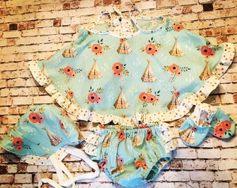 Ruffle dress top, bloomers, reversible bonnet, and shoes