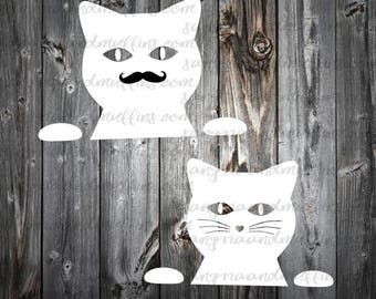 Peeking cat window decal - car, window, laptop, tablet decal -cat decal, mustache cat decal, kitty window sticker, laptop kitty, window cat