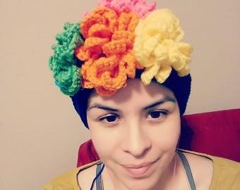 Frida Kahlo, Frida Kahlo headband, Frida Kahlo crochet, flowered headband, crochet headband,