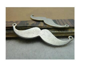 SET of 2 Charms (C21) silver man mustache connector