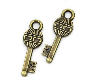 Set of 10 keys (R14) Bronze key charms