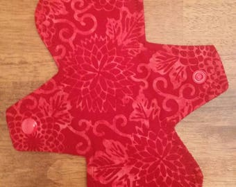 "8"" Red Batik Flower cloth pad"