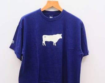 Vintage STUSSY Brand Streetwear Hip Hop Blue Tee T Shirt Size XL