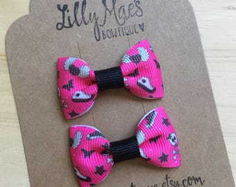 Punk Girls inspired Mini Tuxedo Hair Bows, baby & toddler hair clip, mini bow