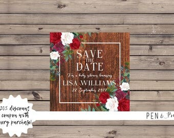 Baby Shower Save the Date Floral & Wood. Printable Baby Shower Save the Date. Baby Shower Digital Save the Date. Floral Save the Date.