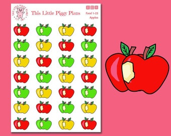 Apples Planner Stickers - Mixed Apple Stickers - Apple Picking Season - Fruit Planner Stickers - Food Stickers - [Food 1-23]