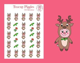 Teacup Piggies - Reindeer Oinkers - Mini Planner Stickers - Reindeer Stickers - Christmas Stickers - Holiday Stickers - Xmas - Winter- [501]