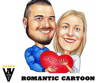 Romantic Cartoon from Photo, Valentine's Day Gift, Couple Caricature