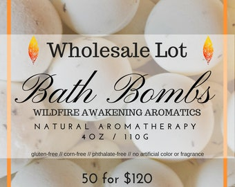 Wholesale lot of 50, Aromatherapy Natural Allergen-Friendly Bath Bombs, 4 oz, gluten free, no artificial colors, no artificial fragrances.