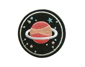 Saturn Space Patches Galaxy Applique Embroidered Iron on Patch