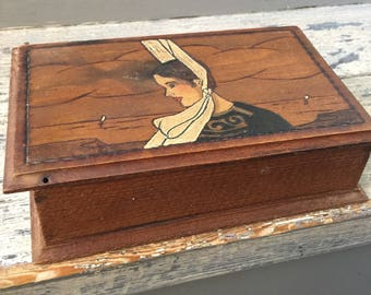 Vintage French Breton pyrographed wooden jewelry box siged Olivier from Brittany France (souvenir de Bretagne) 1950's