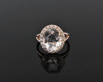 14K Rose Gold Morganite and Diamond Ring!