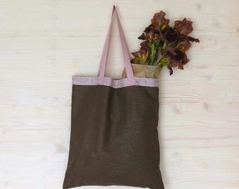 Linen Tote, Linen Bag, Eco Bag, Canvas Tote Bag, Brown Canvas Bag, Brown Market Bag, Shoulder Canvas Tote, Soft Linen Bag, Reusable Bag