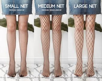 Black Fishnet Tights | 3 Net Sizes Available | small, medium, big | pantyhose, fishnets, hose, fishnet leggings, mesh tights, net