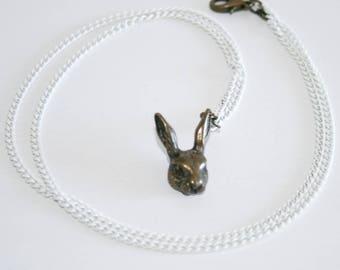 White Rabbit Brass Charm Necklace