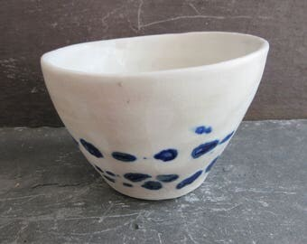 Handmade White Pottery Bowl, Hand Thrown White Pottery Bowl, Handmade Small Pottery Bowl, White Pottery Trinket Dish, Blue and White Bowl