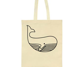 Big Whale Line Drawing Tote Bag