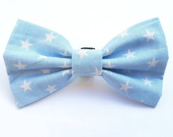 Blue and white star dog collar bow tie.