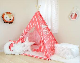 Red Feather Teepee / kids teepee tent / childrens teepee / teepee play tents / play teepee / teepee play tent /  teepee kids/ nursery teepee