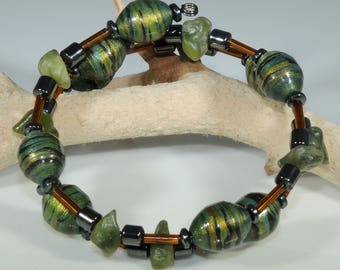 Golden Jade 01 (Upcylced Paper Bead Bracelet/HPBW0007)