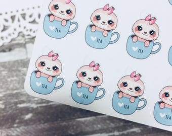 Suzy Tea Time Sloth Sticker | Sloth Sticker | Tea Time Sticker | Character Sticker | SS002