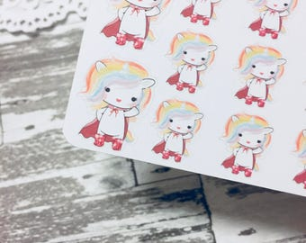 Super Hero Rainbow Unicorn Sticker | Super Hero Planner Sticker | Unicorn Sticker | Kikki Unicorn Serie