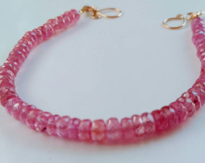 Pink Sapphire bracelet, pink sapphires, Handmade, 14k yellow gold scrolled clasp,  Pink gemstone bracelet. Natural Sapphires, line bracelet.