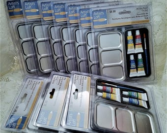 Acrylic Paint Tin 6 Pc Set, Artists Loft, Party Favors, Stocking Stuffers, Paint Sets, Set of 10 Packages
