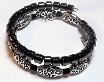 Silver Filigree & Hematite Memory Wire Bracelet, Earrings