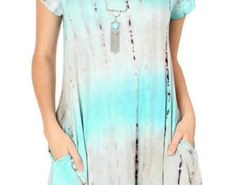 Tie dye pocket dress -L