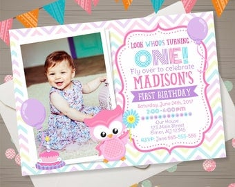 OWL Birthday Invitation with PHOTO Girl First Birthday Invitation Owl Invitation Owl Invite Owl Birthday Party Pink Teal Purple Owl Party