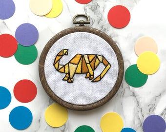 Geometric dinosaur Apatosaurus hoop art - Yellow hand embroidery wall decor - Christmas tree ornament decoration - Stocking filler under 30