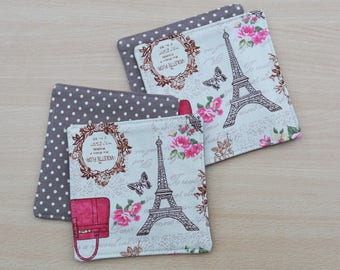 french cup coaster set of 4, beige brown polka dot Eiffel tower mug rug, reversible drink coaster, shabby chick fabric cloth cup coaster