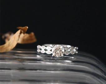14K White Gold Moissanite Engagement Ring 6mm Round Cut Forever Classic Moissanite Ring Art Deco Ring Half Eternity Diamond Band Bridal Ring