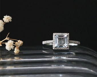 6mm Princess Cut Natural Aquamarine Engagement Ring March Birthstone Ring Gemstone Ring Stackable Bridal Ring 14K White Gold Anniversay Ring
